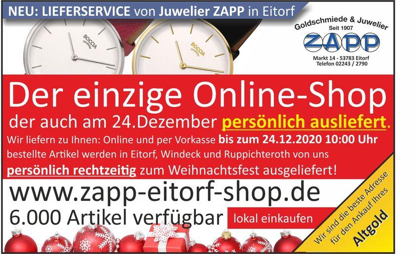 Weihnachtsangebot der Goldschmiede & Juwelier Zapp Eitorf