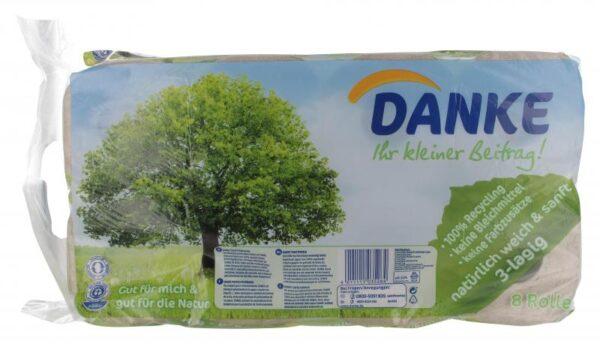 Danke Toilettenpapier 3-Lagig aus 100% Recyclingpapier